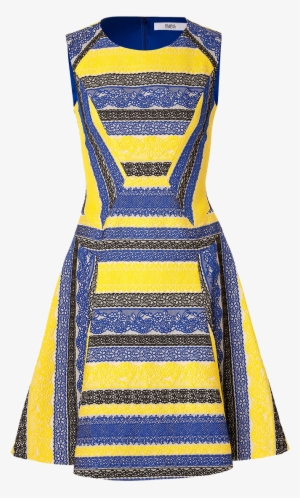 b38f605487c08 Prabal Gurung Royal Blue Yellow Black Embroidered Lace - Royal Blue Yellow  Dress #2918066
