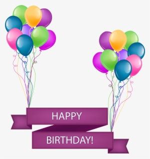 Happy Birthday Banner With Balloons Transparent Png 41939