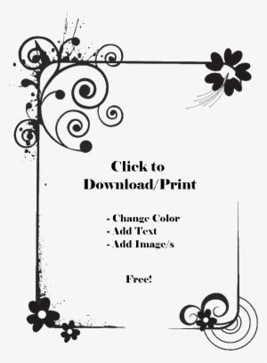 white border transparent white border image free download Yellow Vine Border Clip Art printable flower border floral border design black and white 44248