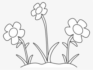 Spring Outline Cliparts - Flower Garden Clip Art Black And ...