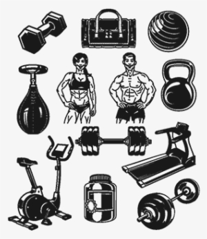 Set Icons For Bodybuilding Isolated On White - Icon  884508 d1eab4768fa0